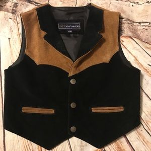 Roper Contrast Lapel Suede Leather Boys Vest